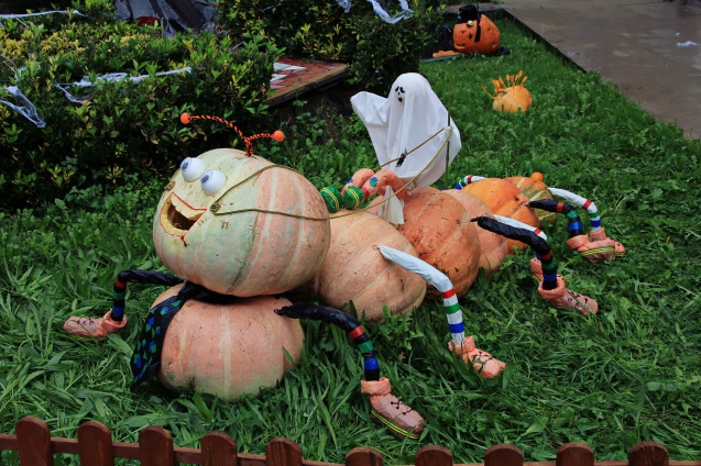 Part of a pumpkin display in front of a church