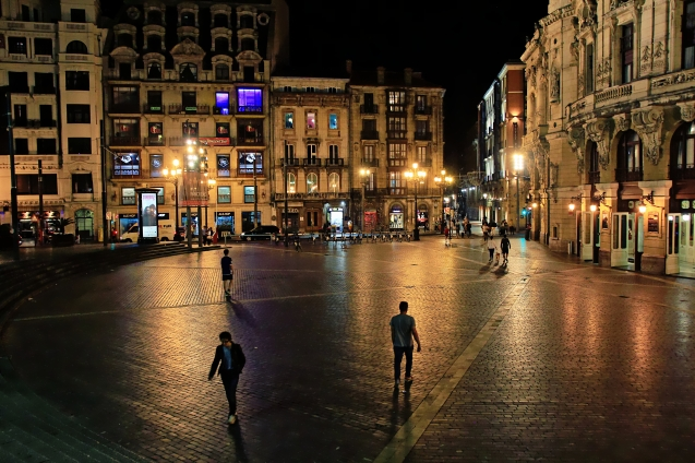 Old city of Bilbao at night