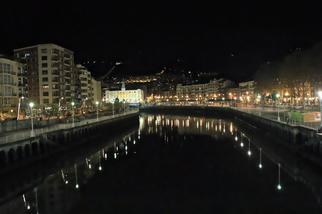 View of the river at night