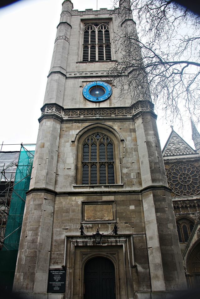 The sun dial on St Margaret's church beside Westminster Abbey