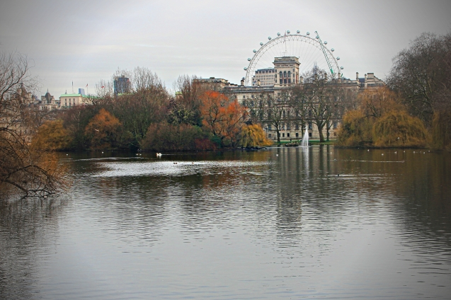 View of the London Eye and other side of Horse guards from St James Park. Buckingham palace is behind me.