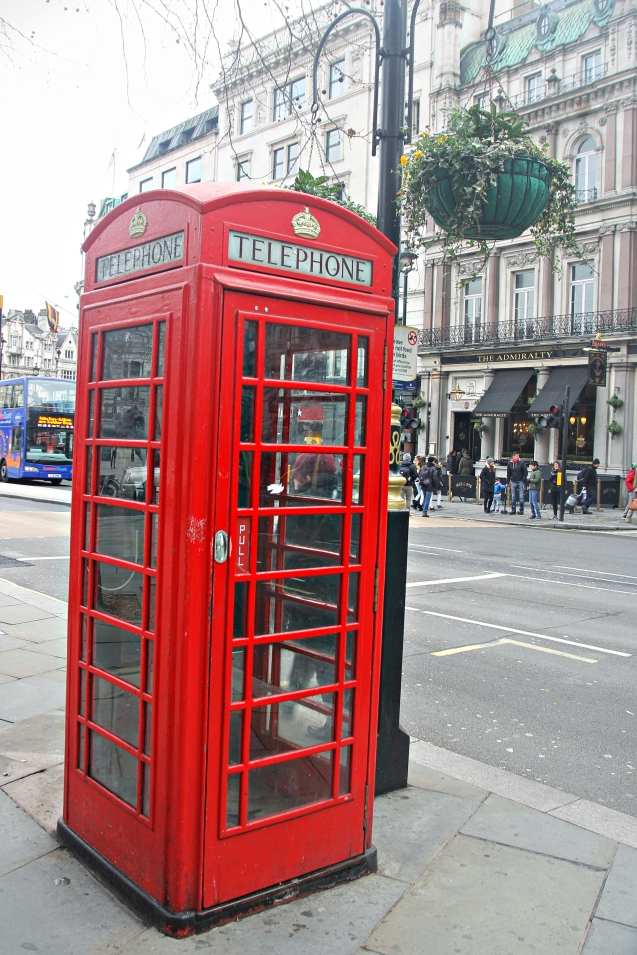 The iconic red telephone booth