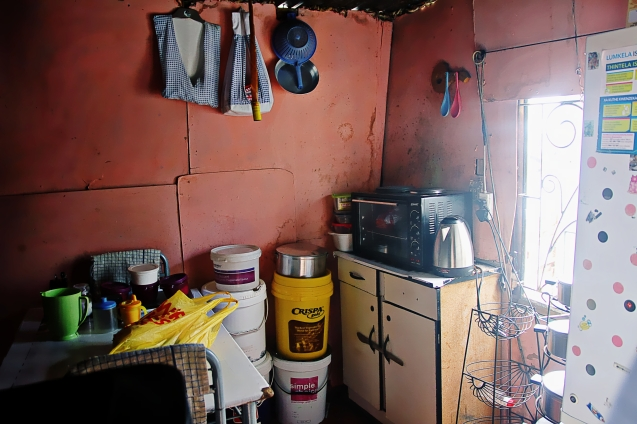 Kitchen in a hut in the Township