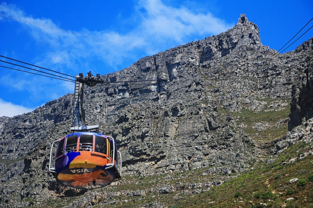 Cable car going up Table Mountain