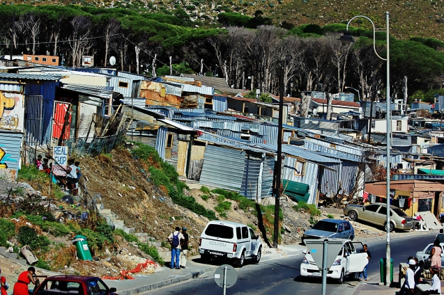 A typical township just outside of Cape Town.