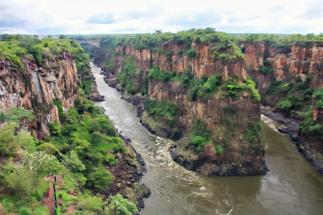 Victoria falls gorge from the cafe. You can see the bridge from Zim to Zam far off in the distance