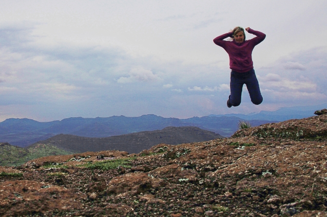 Jumping for joy at the highest point in Lesotho.