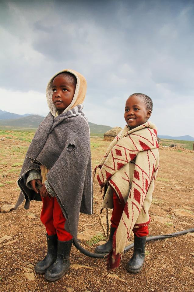 Even the little ones wear wool blankets.