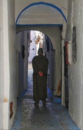 Man in Djellaba in an alley