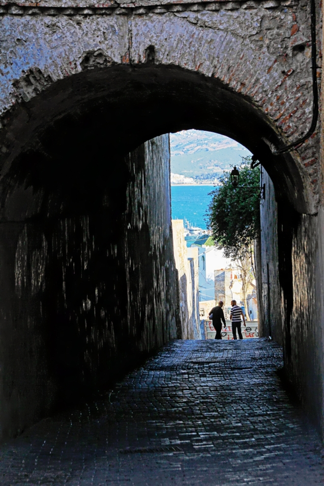 Looking through the wall to the Atlantic Ocean. Tangiers has shoreline on the Atlantic, Mediterranean and the Strait of Gibraltar