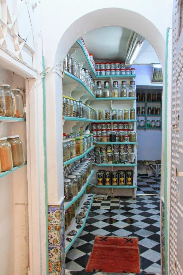 Moroccan Pharmacy. Jars of healing herbs