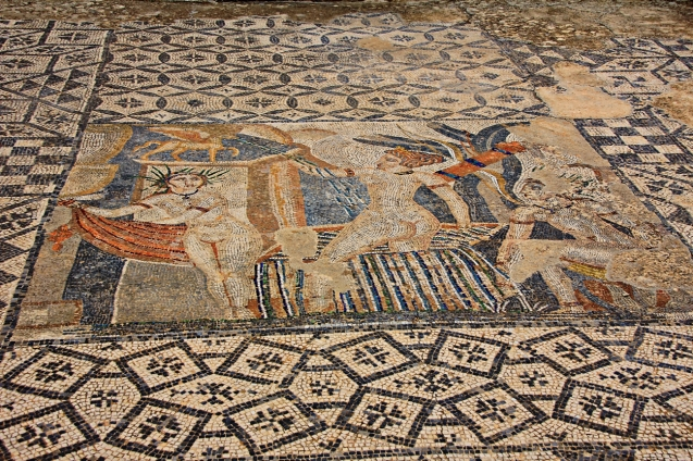 Mosaic in the floor.