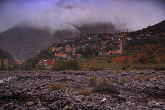 The village in the dusk as we returned after a walk.