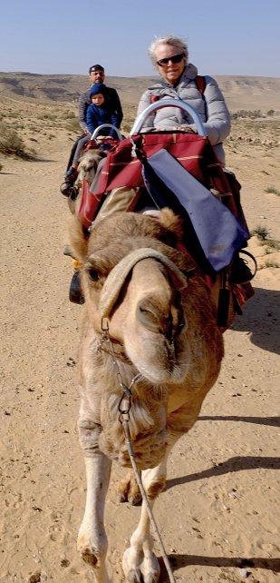 Sue riding a camel like a pro